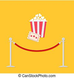 Red rope barrier stanchions turnstile Big popcorn and ticket. Cinema icon in flat design style. Vector illustration