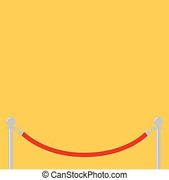 Red rope barrier stanchions turnstile facecontrol Yellow background Isolated. Template. Flat design