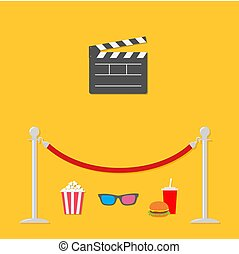 Red rope barrier stanchions turnstile Open movie clapper board 3D glasses popcorn soda hamburger template icon. Flat design style. Vector illustration