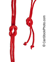 Red rope with knot isolated on a white background