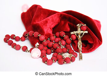 Red Rosary - A red rosary made by wood