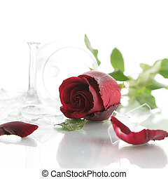 Red rose and broken glass of wine on white background