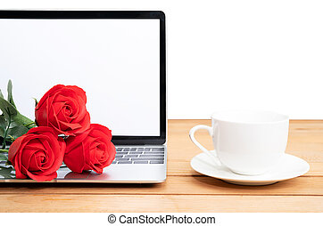 Red rose and coffee cup with laptop mockup on white
