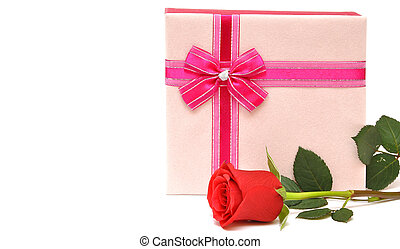 red rose and gift