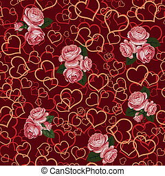 red rose and heart seamless