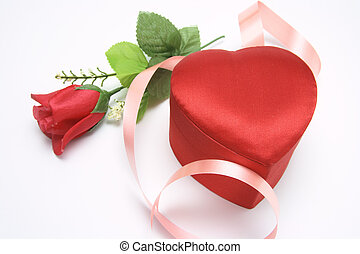 Red Rose and Heart-shaped Gift Box