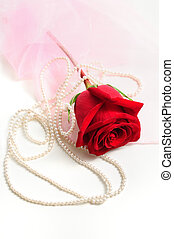 Red Rose and pearls - Romantic red rose wrapped in silk with...