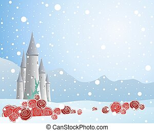 red rose and snow