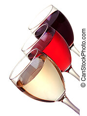 Red, rose and white wine in a wine glasses isolated on white...