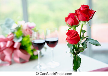 Red rose and wine, Valentines day symbols.