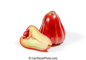 Red rose apple on white background