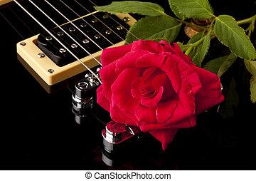 Red Rose Black Electric Guitar