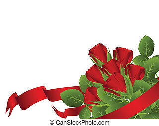 red rose bouquet and copyspace for your text