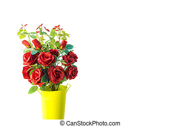 Red rose bouquet isolated on white background for Valentine day