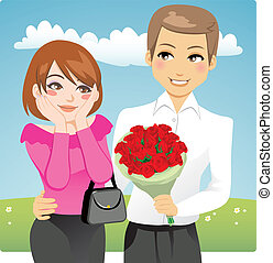 Red Rose Bouquet - Portrait of a handsome man surprising a...