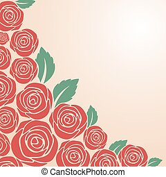 Red rose bush on pink background