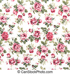 Red Rose Fabric background, Fragment of colorful retro...