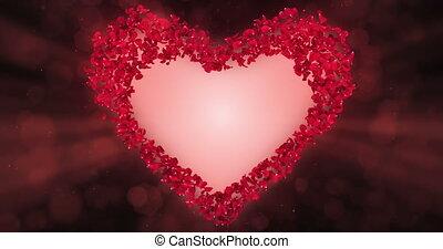 Red Rose Flower Petals In Heart Shape Alpha Matte Loop Placeholder 4k