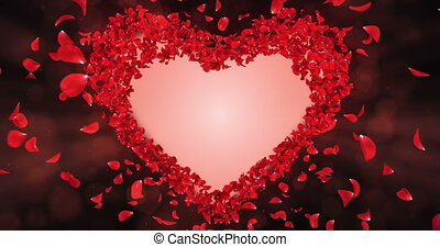 Red Rose Flower Petals In Heart Shape Alpha Matte Loop Placeholder