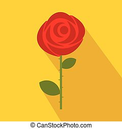 Red rose icon in flat style