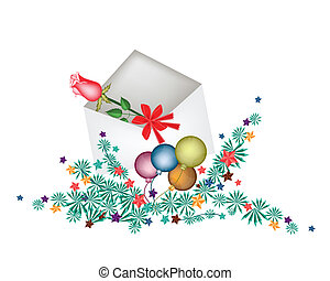 Red Rose in Open Envelope with Christmas Balls