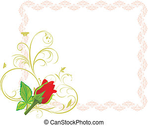 Red rose in the decorative frame