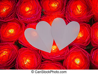 Red rose light with heart paper