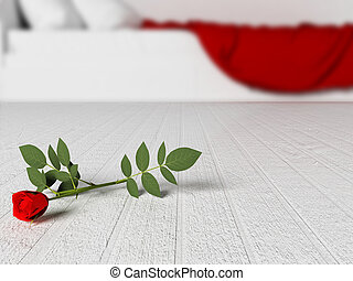 red rose on the floor,