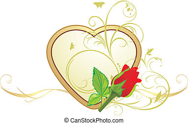 Red rose on the golden heart