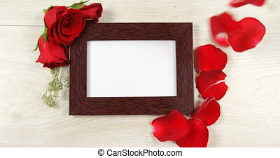 Red rose petal falling on the photo frame 4k - Red rose ...