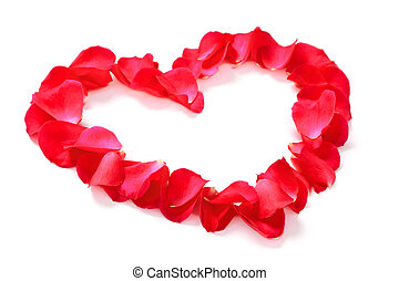 Red rose petal heart isolated on white