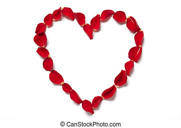 Red rose petals in heart shape on white background