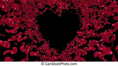 Red Rose Sakura Flower Petals In Heart Shape Alpha Matte Placeholder Loop 4k
