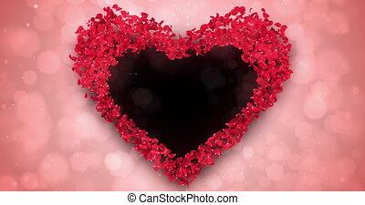 Red Rose Sakura Flower Petals In Heart Shape Alpha Matte Loop Placeholder