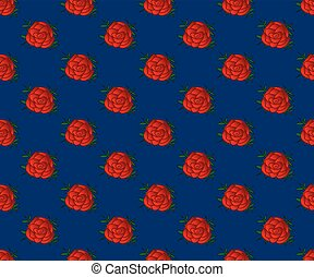 Red Rose Seamless on Indigo Blue Background.