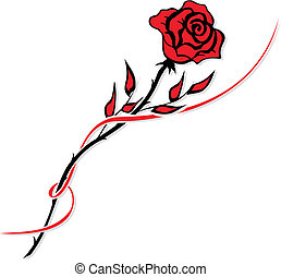 Simple red rose drawing isolated on white
