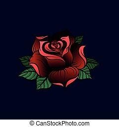 Red rose vector Illustration on a dark blue background