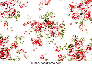 red rose vintage on fabric background.