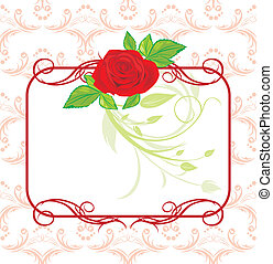 Red rose with decorative frame