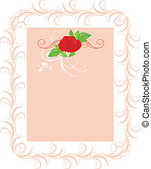 Red rose with floral ornament