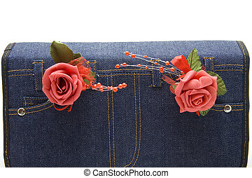 Red rose with jeans bag