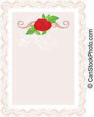 Red rose with ornament. Frame