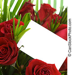 Red roses 4 - Bouquet with a blank card