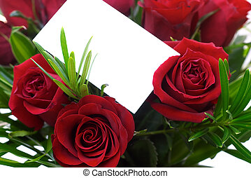 Red Roses 5 - A bouquet with a blank gift tag