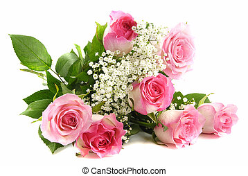 Red roses and a lace - Beautiful pink roses bouquet isolated...