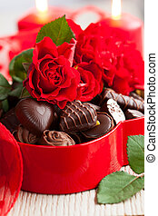 roses and chocolate candies for Valentine's Day - red roses ...
