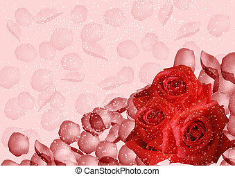 Red roses and petals on pink background