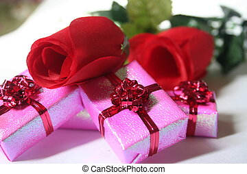 red roses and pink
