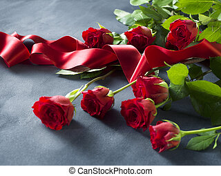 Red roses and ribbon valentines Day background