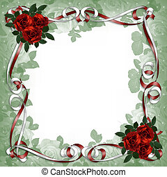 Red Roses and Satin Ribbons Floral Border - Image and...